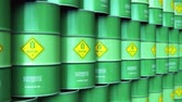 technology : Creative abstract ecology, alternative sustainable energy and environment protection saving business concept: 3D render illustration of the group of green stacked metal biofuel drums or biodiesel barrels in the industrial storage warehouse with selective