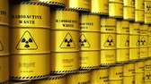 ekologia : Creative abstract nuclear power fuel manufacturing, disposal and utilization industry concept: 3D render illustration of the group of stacked yellow metal barrels, drums or containers with poison dangerous hazardous radioactive materials in the industrial Wideo
