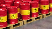 барабаны : Creative abstract oil and gas industry manufacturing and trading business concept: 3D render illustration of the group of the industrial storage warehouse with a stacked rows of red metal oil drums or petroleum barrels with selective focus effect Стоковые видеозаписи