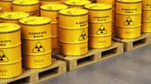 utilization : Creative abstract nuclear power fuel manufacturing, disposal and utilization industry concept: 3D render illustration of the group of stacked yellow metal barrels, drums or containers with poison dangerous hazardous radioactive materials in the industrial Stock Footage