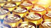 engarrafado : Creative abstract 3D render illustration of the macro view of metal shiny alcohol beer drink tin cans with selective focus bokeh effect