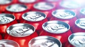 Creative abstract 3D render illustration of the macro view of red metal shiny drink tin cans with cola refreshing beverages selective focus bokeh effect