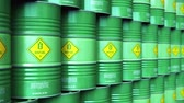 Creative abstract ecology, alternative sustainable energy and environment protection saving business concept: 3D render illustration of the group of green stacked metal biofuel drums or biodiesel barrels in the industrial storage warehouse with selective