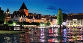 Scenic summer night view of the Old Town of Lausanne, Switzerland Dostupné videozáznamy