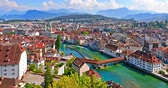 evde : Scenic summer aerial panorama of the Old Town medieval architecture in Lucerne, Switzerland Stok Video