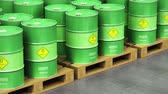 Creative abstract ecology, alternative sustainable energy and environment protection saving business concept: 3D render video of the group of green stacked metal biofuel drums or biodiesel barrels in the industrial storage warehouse with selective focus e Dostupné videozáznamy