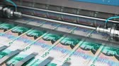 debts : Business success, finance, banking, accounting and making money concept: 3D render video of printing 100 SEK Swedish krona money paper cash banknotes on print machine in typography Stock Footage