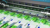 european currency : Business success, finance, banking, accounting and making money concept: 3D render video of printing 100 Euro money paper cash banknotes on print machine in typography