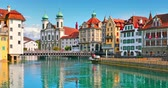 Scenic summer panorama of the Old Town medieval architecture in Lucerne, Switzerland