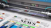3D render video of printing color daily business newspapers or news papers on the offset print machine in typography