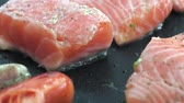seafood recipe : Red Salmon Fish Fillet on Electric Grill