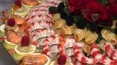 matrimoni : crayfish and seafood with fruit laid out on a tray