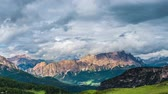 TIMELAPSE: clouds moving over mountains . Dolomites alps.Italy
