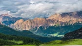 TIMELAPS: clouds moving over mountains . Dolomites alps.Italy