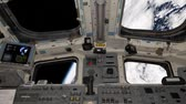 nauka : View of the space shuttle cockpit orbiting earth. Wideo