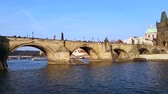 europe : View of Charles Bridge and Prague Castle Stock Footage