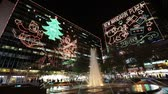 papai noel : street in Hong Kong at night before xmas Stock Footage