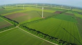 renewable sources : Aerial view of industrial park with Wind turbines for renewable green energy