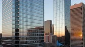 4K Timelapse close up Dallas illuminated Skyscrapers from sunset to twilight