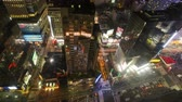 NEW YORK CITY NOV 14-2010: 4K Timelapse zoom out aerial view of Times Square, a busy traffic intersection with neon art. Times Square is one of the most iconic places in New York City.