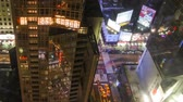 NEW YORK CITY NOV 14-2010: Timelapse pan close up shot aerial view of Times Square, a busy traffic intersection with neon art. Times Square is one of the most iconic places in New York City. Стоковые видеозаписи