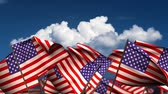 waving : Waving American Flags (seamless & alpha channel) Stock Footage