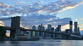 view : Brooklyn Bridge Spans the East River from Brooklyn to Manhattan in New York City
