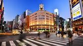 The Ginza in Tokyo, Japan. Stock mozgókép