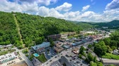 Gatlinburg, Tennessee, USA town skyline from above.