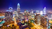 city lights : Charlotte, North Carolina, USA uptown city skyline time lapse.