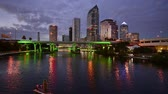 city lights : Tampa Florida USA downtown skyline footage at twilight. Stock Footage