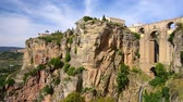 sol : Ronda, Spain at Puente Nuevo Bridge. Stock Footage