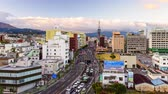 ??ken : BEPPU, JAPAN - DECEMBER 13, 2015: Downtown Beppu at Beppu Tower. The city is well known for hot springs resorts. Stock Footage