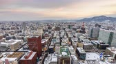 Sapporo, Japan downtown city skyline time lapse. Stock Footage