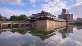 Hiroshima, Japan at the castle moat. Stock Footage