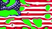 radial : liquid paint splatter usa flag dissolving and appearing on chroma key green screen new quality unique cartoon animation dynamic joyful cool video footage Stock Footage