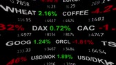 лента : forex stock market index commodity ticker tape board news line on black background - new quality financial business animated dynamic motion video footage