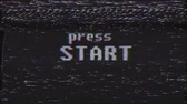 opções : retro videogame press start text on old tv glitch interference screen ... New quality universal vintage motion dynamic animated background colorful joyful cool video footage Stock Footage