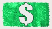 ушлый : drawn marker dollar sign cartoon handmade animation seamless loop background ... New quality universal vintage stop motion dynamic animated business colorful joyful cool video footage Стоковые видеозаписи