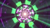 viraj : Flight in out through block neon lights abstract cyber tunnel motion graphics animation background loop new quality retro futuristic vintage style cool nice beautiful video footage Stok Video