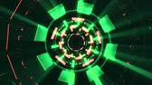 visualização : Flight in out through block neon lights abstract cyber tunnel motion graphics animation background loop new quality retro futuristic vintage style cool nice beautiful video footage Vídeos