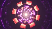 spirála : Flight in out through block neon lights abstract cyber tunnel motion graphics animation background loop new quality retro futuristic vintage style cool nice beautiful video footage Dostupné videozáznamy