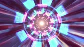 flexionar : Flight in out through block neon hyperspace lights cyber tunnel motion graphics animation background loop new quality retro futuristic vintage style cool nice beautiful video footage Vídeos