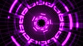 optika : Flight in out through block grid neon lights abstract cyber tunnel motion graphics animation background loop new quality retro futuristic vintage style cool nice beautiful video footage