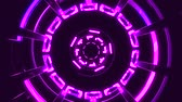 оптический : Flight in out through block grid neon lights abstract cyber tunnel motion graphics animation background loop new quality retro futuristic vintage style cool nice beautiful video footage