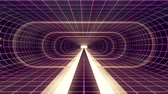 gerçeklik : In out flight through VR White neon purple grid GREEN lights cyber tunnel HUD interface motion graphics animation background new quality retro futuristic vintage style cool nice beautiful video footag