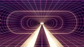 visualização : In out flight through VR White neon purple grid BLUE lights cyber tunnel HUD interface motion graphics animation background new quality retro futuristic vintage style cool nice beautiful video footag
