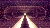 tunel : In out flight through VR White neon purple grid YELLOW lights cyber tunnel HUD interface motion graphics animation background new quality retro futuristic vintage style cool nice beautiful video foota