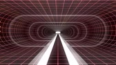 оптический : In out flight through VR WHITE neon RED grid RED lights cyber tunnel HUD interface motion graphics animation background new quality retro futuristic vintage style cool nice beautiful video footag