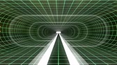 gerçeklik : In out flight through VR WHITE neon GREEN grid YELLOW lights cyber tunnel HUD interface motion graphics animation background new quality retro futuristic vintage style cool nice beautiful video footag Stok Video
